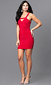 Image of red mini holiday party dress with open back. Style: EM-EYS-1027-600 Detail Image 1