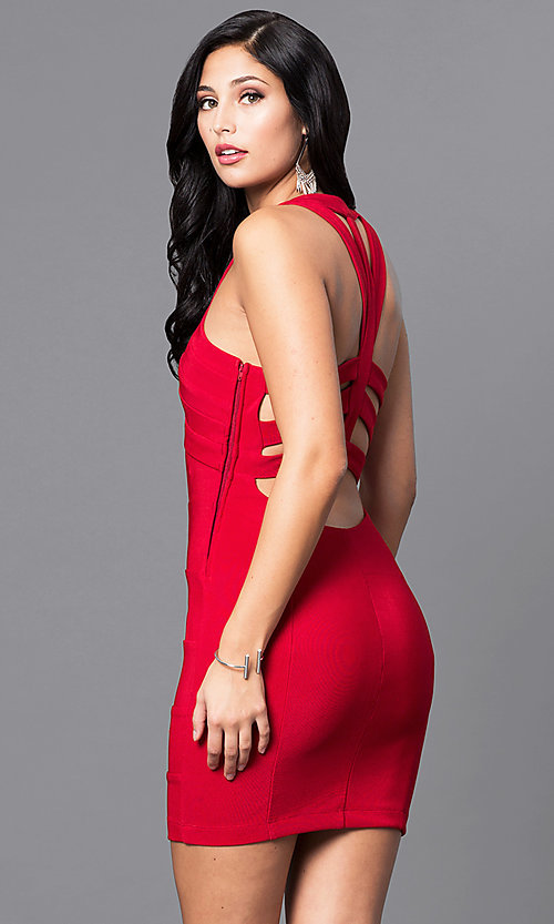 Image of red mini holiday party dress with open back. Style: EM-EYS-1027-600 Back Image