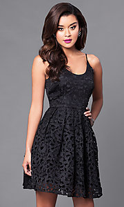 Image of short lace homecoming party dress with scoop-neck. Style: MT-8225 Front Image