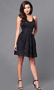 Image of short lace homecoming party dress with scoop-neck. Style: MT-8225 Detail Image 1
