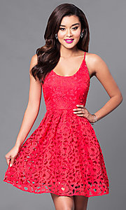 Image of short lace homecoming party dress with scoop-neck. Style: MT-8225 Detail Image 2
