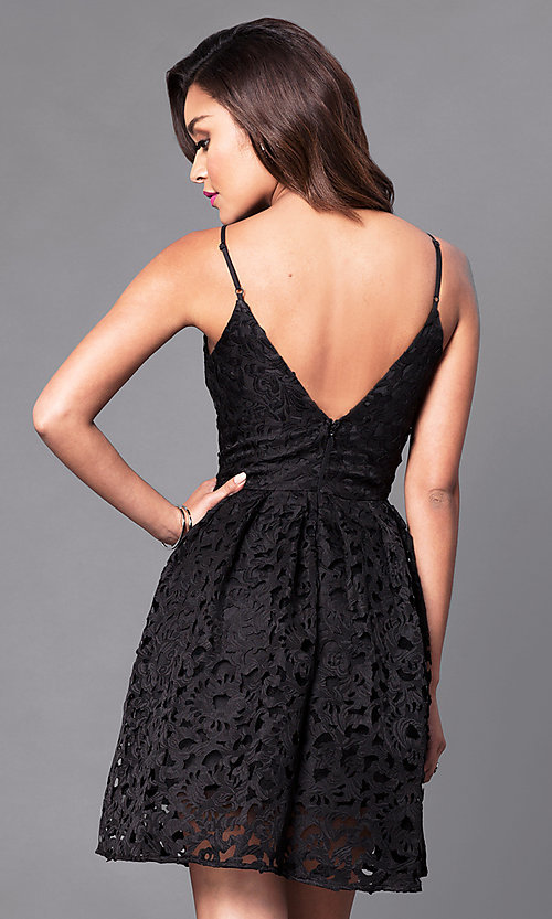 Image of short lace homecoming party dress with scoop-neck. Style: MT-8225 Back Image