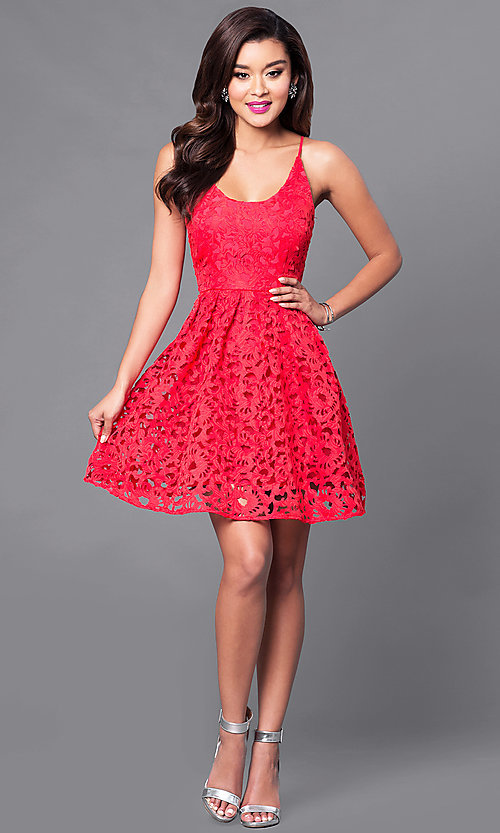 Image of short lace homecoming party dress with scoop-neck. Style: MT-8225 Detail Image 3