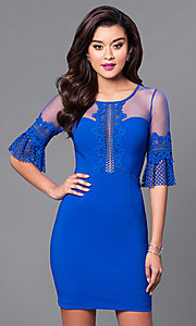 Royal Blue Short Fitted Half-Sleeve Party Dress