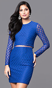 Image of long sleeve short lace dress with sheer midriff. Style: MT-8001 Detail Image 2