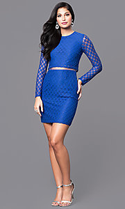 Image of long sleeve short lace dress with sheer midriff. Style: MT-8001 Detail Image 3