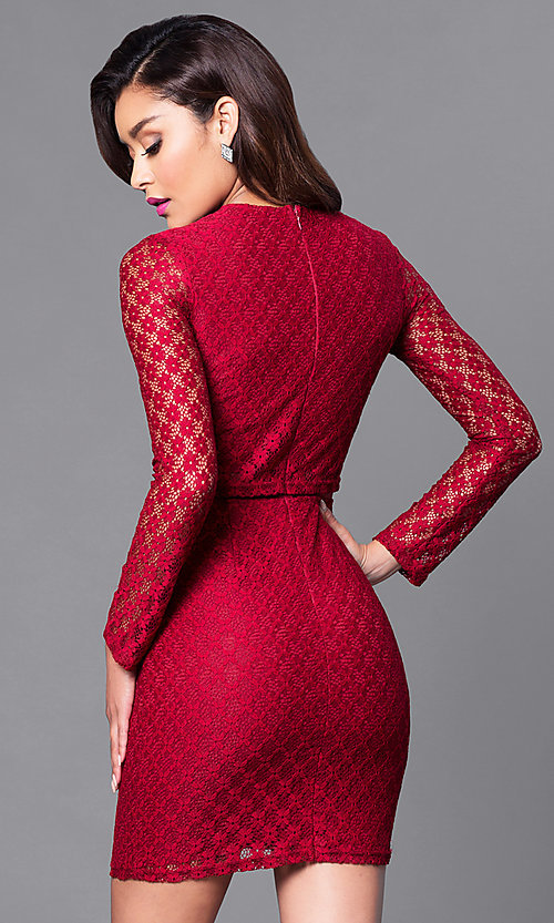 Image of long sleeve short lace dress with sheer midriff. Style: MT-8001 Back Image