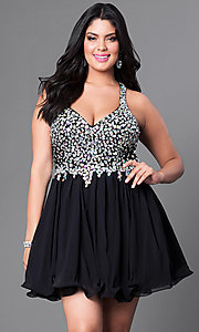 Image of short beaded-bodice v-neck plus-size party dress. Style: DQ-8997P Front Image