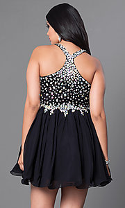 Image of short beaded-bodice v-neck plus-size party dress. Style: DQ-8997P Back Image