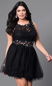 Image of black mock two-piece plus-size semi-formal dress. Style: DQ-9080P Front Image