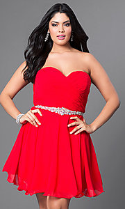 Image of strapless plus-size corset party dress with jewels. Style: DQ-9115P Front Image
