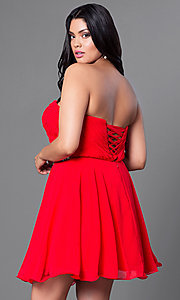 Image of strapless plus-size corset party dress with jewels. Style: DQ-9115P Back Image