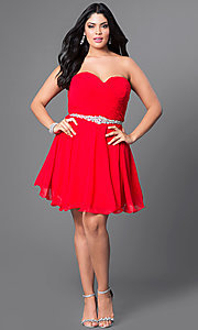 Image of strapless plus-size corset party dress with jewels. Style: DQ-9115P Detail Image 1