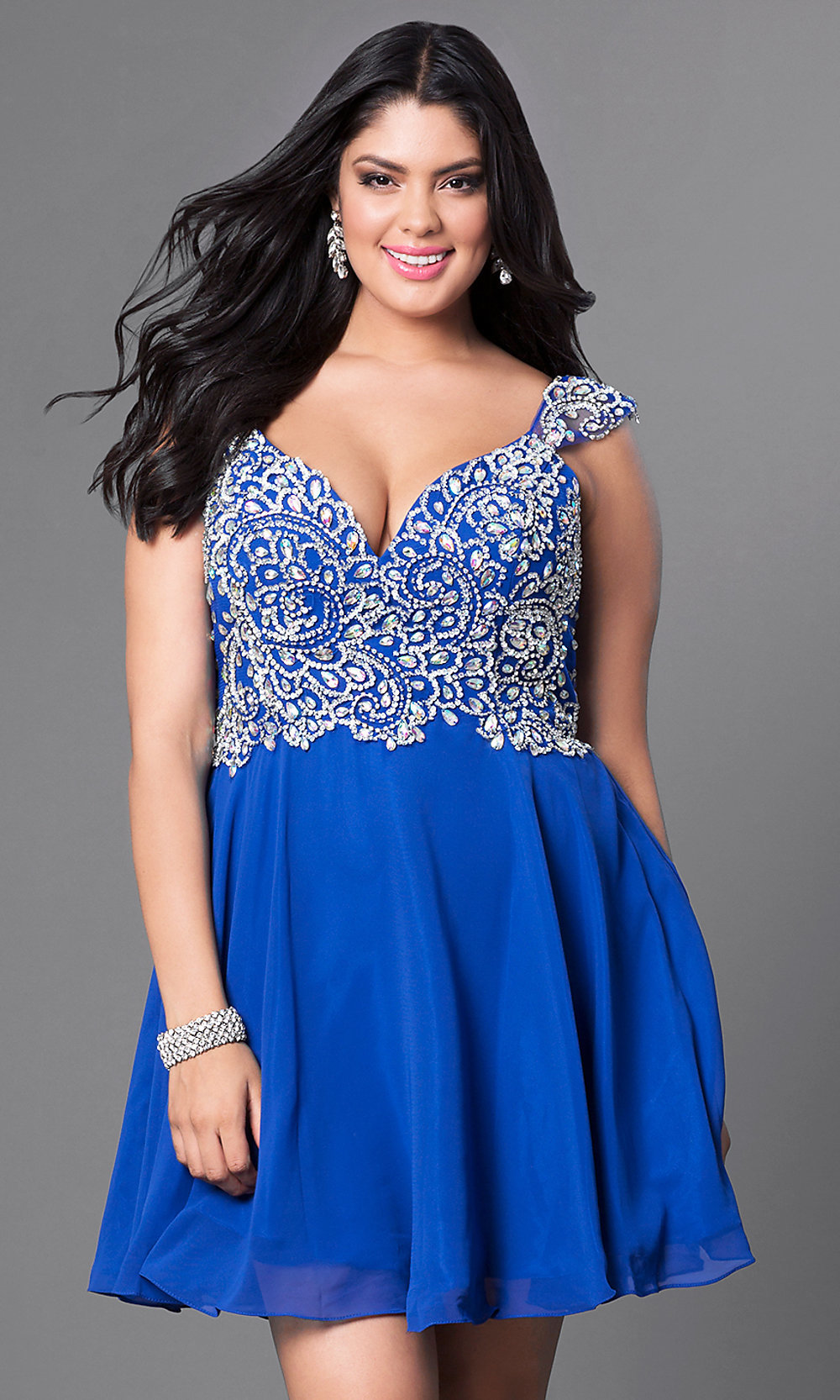 Cap-Sleeve Short Plus-Size Party Dress with Jewels