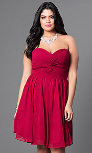 Image of strapless plus short party dress with ruched bodice. Style: DQ-8951WP Front Image