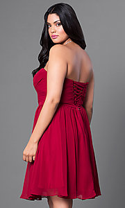 Image of strapless plus short party dress with ruched bodice. Style: DQ-8951WP Back Image