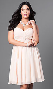 Image of strapless plus short party dress with ruched bodice. Style: DQ-8951WP Detail Image 3