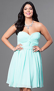 Image of strapless plus short party dress with ruched bodice. Style: DQ-8951WP Detail Image 1