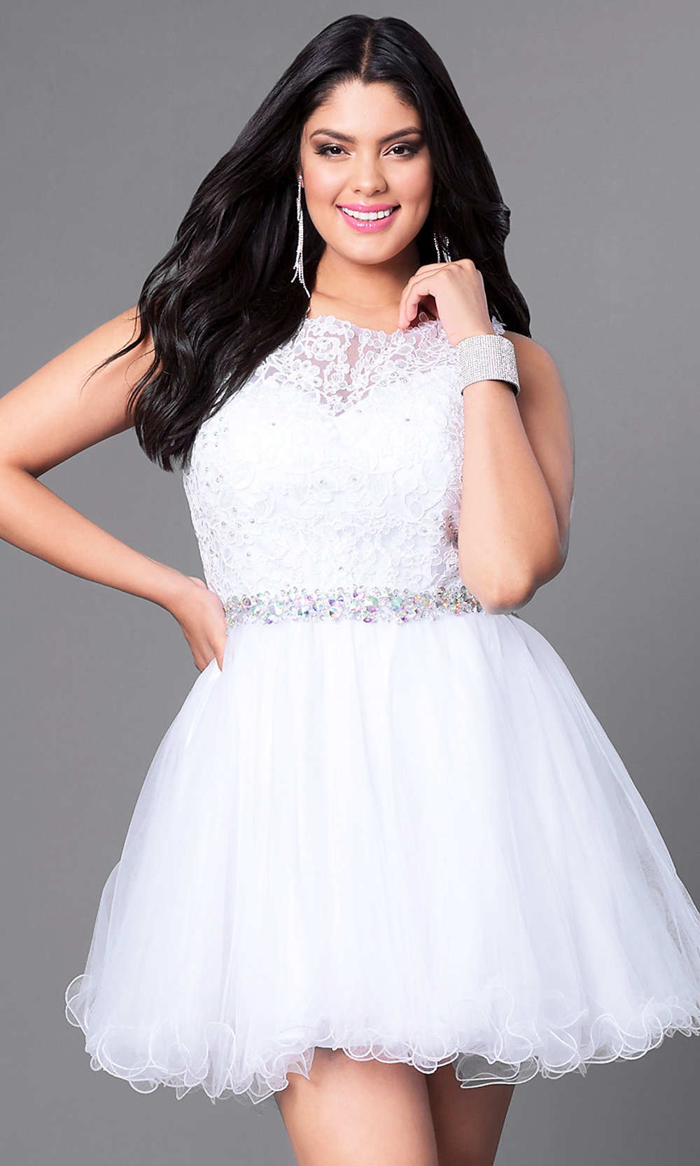 Plus-Size Tulle Short Prom Dress with Lace - PromGirl