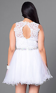 Image of lace bodice plus-size short prom dress in tulle. Style: DQ-9159WP Back Image