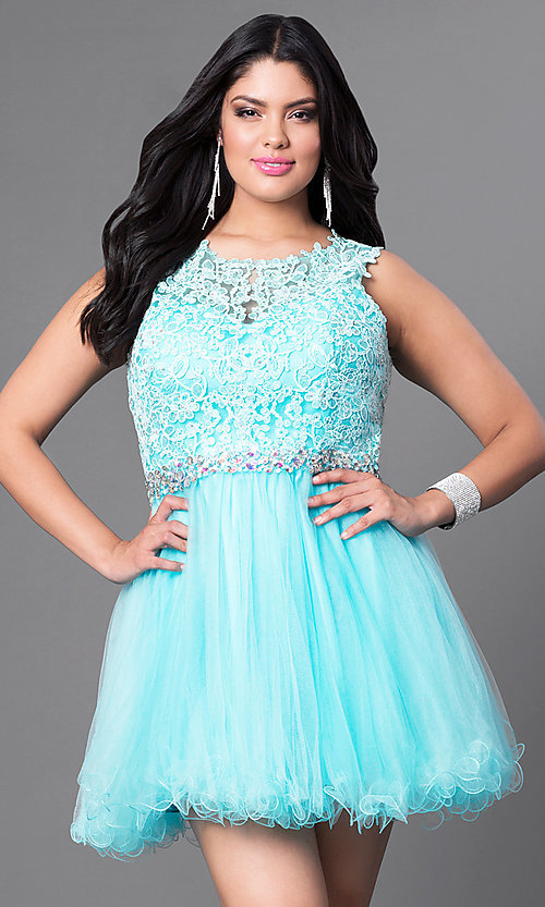 Image of lace bodice plus-size short prom dress in tulle. Style: DQ-9159WP Detail Image 1