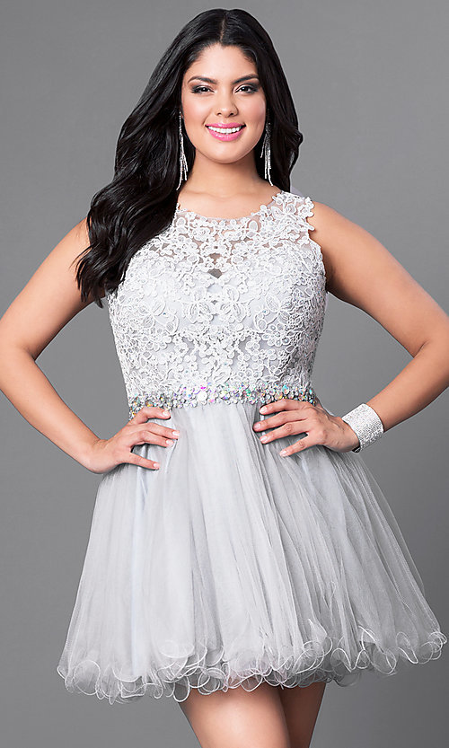 Image of lace bodice plus-size short prom dress in tulle. Style: DQ-9159WP Detail Image 2