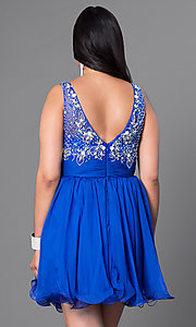 Image of jeweled-bodice short plus party dress with ruching. Style: DQ-8806P Back Image