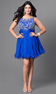 Image of jeweled-bodice short plus party dress with ruching. Style: DQ-8806P Detail Image 1