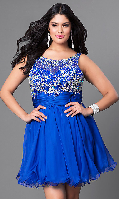 Image of jeweled-bodice short plus party dress with ruching. Style: DQ-8806P Front Image
