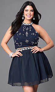 High Neck Two-Piece Plus-Size Short Dress