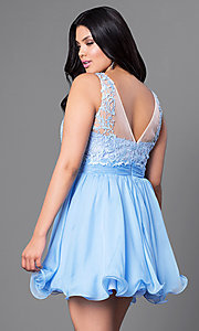 Image of lace-bodice short plus-size party dress in chiffon. Style: NA-6049P Back Image