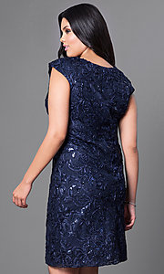 Image of cap-sleeve plus-size party dress with sequins. Style: SF-8803P Back Image