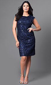 Image of cap-sleeve plus-size party dress with sequins. Style: SF-8803P Detail Image 1