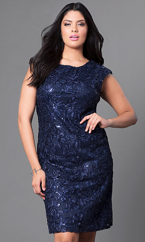 Image of cap-sleeve plus-size party dress with sequins. Style: SF-8803P Front Image