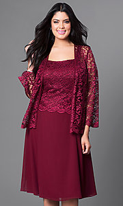 Image of knee-length plus-size party dress with lace jacket. Style: SF-8485P Detail Image 5