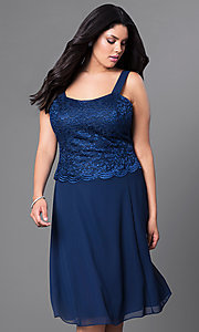 Image of knee-length plus-size party dress with lace jacket. Style: SF-8485P Detail Image 1