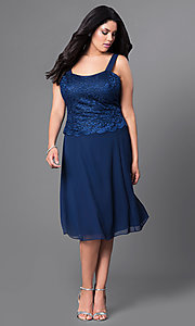 Image of knee-length plus-size party dress with lace jacket. Style: SF-8485P Detail Image 4