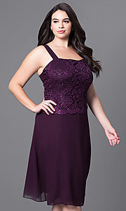 Image of knee-length plus-size party dress with lace jacket. Style: SF-8485P Detail Image 8