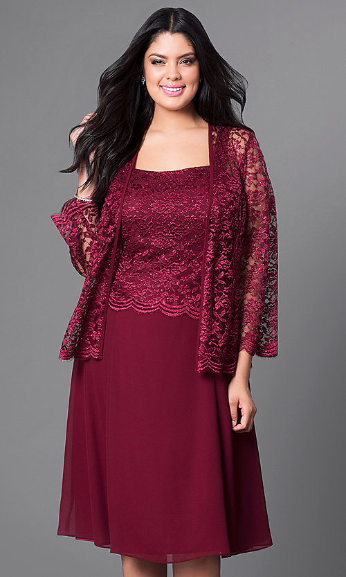 Image of knee-length plus-size party dress with lace jacket. Style: SF-8485P Detail Image 2