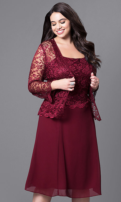 Image of knee-length plus-size party dress with lace jacket. Style: SF-8485P Detail Image 6