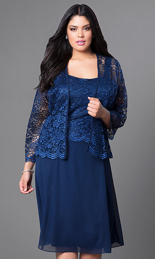 Image of knee-length plus-size party dress with lace jacket. Style: SF-8485P Front Image