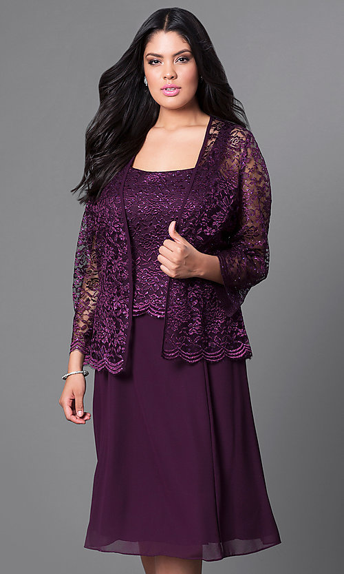 Image of knee-length plus-size party dress with lace jacket. Style: SF-8485P Detail Image 3