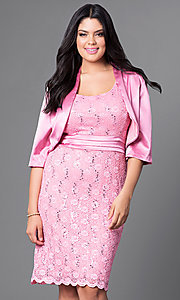 Lace Knee-Length Plus Dress with Matching Satin Jacket