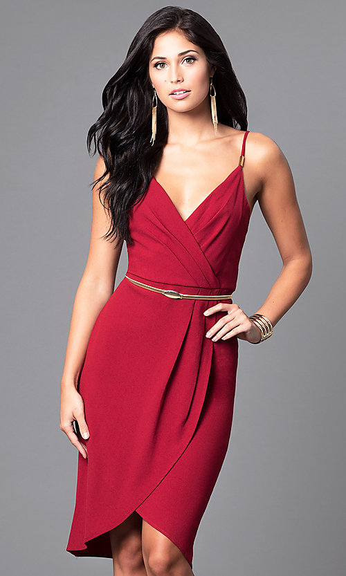 Image of wine red mock-wrap party dress with tulip skirt. Style: AC-DE21967T Front Image