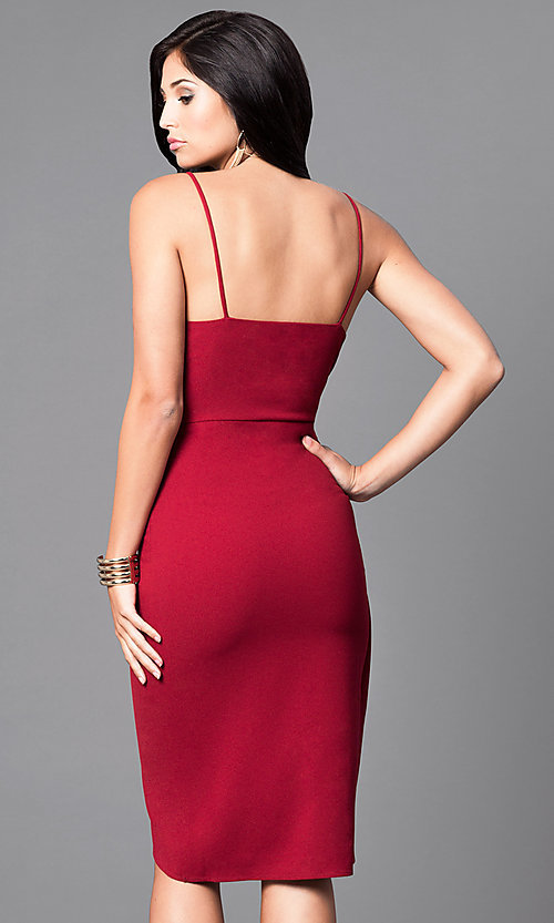 Image of wine red mock-wrap party dress with tulip skirt. Style: AC-DE21967T Back Image