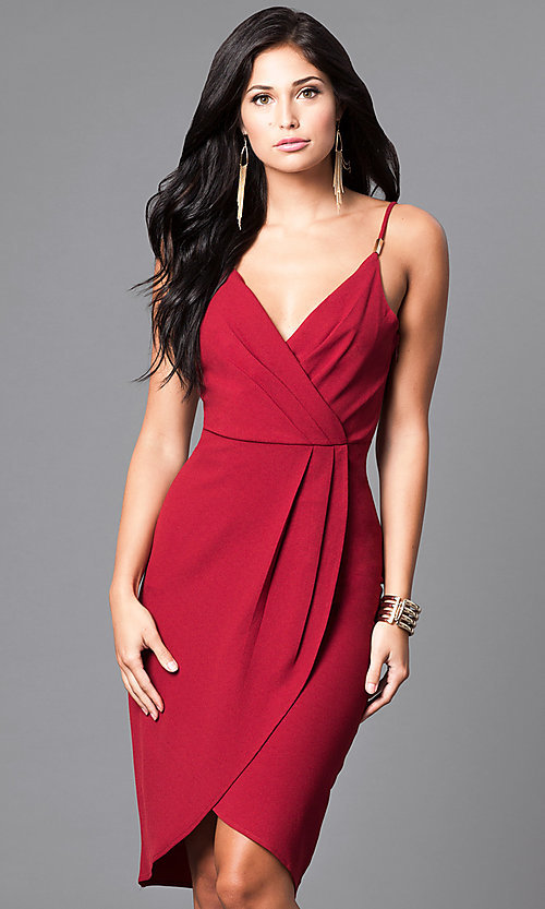 Image of wine red mock-wrap party dress with tulip skirt. Style: AC-DE21967T Detail Image 1