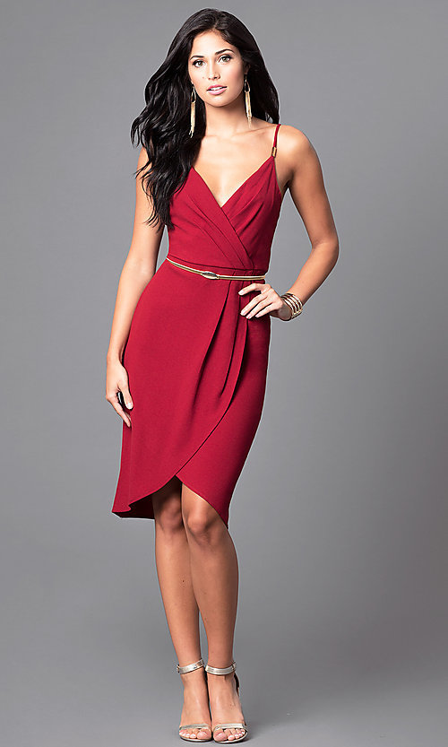 Image of wine red mock-wrap party dress with tulip skirt. Style: AC-DE21967T Detail Image 2