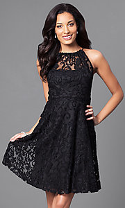 Lace High-Neck Short Homecoming Party Dress