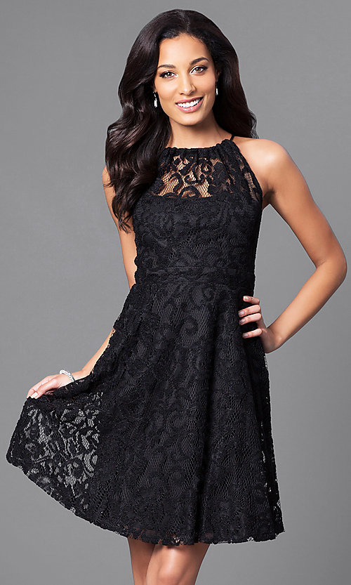 Image of lace high-neck short homecoming party dress. Style: SF-8833 Front Image