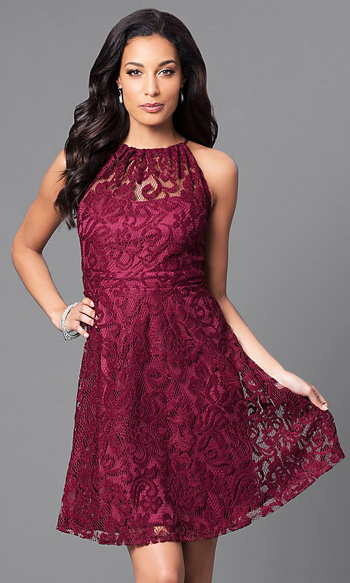 Image of lace high-neck short homecoming party dress. Style: SF-8833 Detail Image 2
